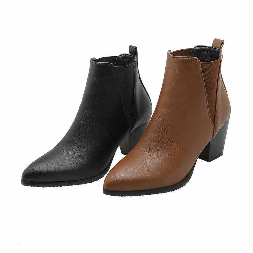 ESVEVA 2020 Kadın Ayakkabı Kış yarım çizmeler Kare Yüksek Topuk PU Deri Batı Tarzı Kayma Motosiklet Platform Çizme Boyutu 34 -43