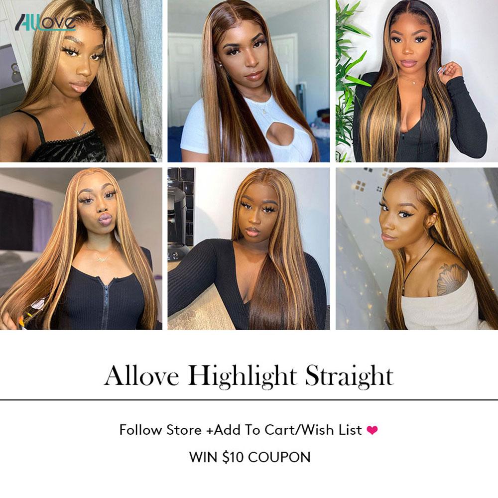 Allove Highlight Lace Closure Straight Hair Free Part 4X4 Lace Closure Non-brazilian Brown  Swiss Lace Closure 1Pc 6