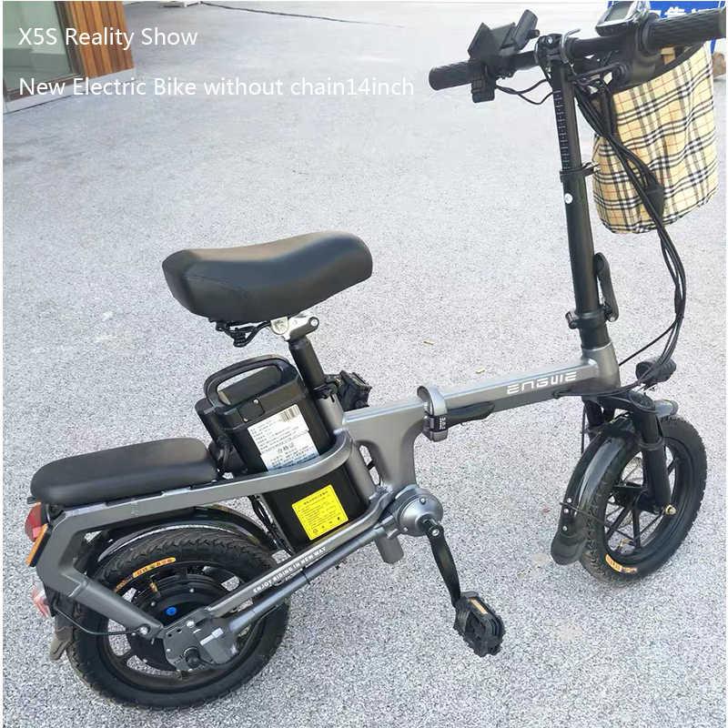 X5S sin cadena bicicleta eléctrica 14 pulgadas Mini bicicleta eléctrica 48V10/15/20A bicicleta eléctrica de ciudad 350W potente bicicleta de acelerador completo sctooer