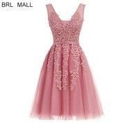 Women Pink Lace Appliques Short Prom Dresses V neck Formal Party Ball Gowns Cheap Homecoming Bridesmaid Dress vestido de fiesta