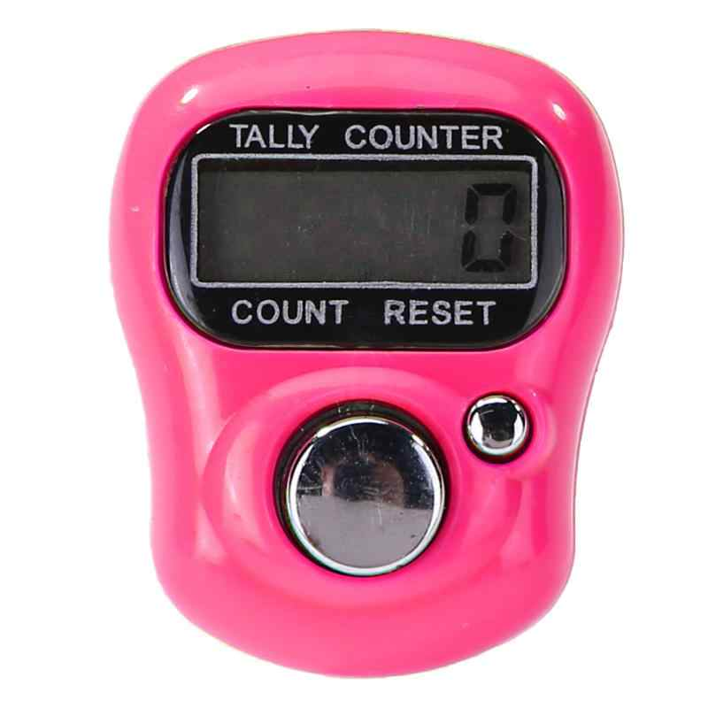 Mini Finger Counter LCD Elektronik Digital Counter Kisaran 0-99999 (Merah Muda) LCD Elektronik Digital Tally Counter untuk Menjahit Merajut