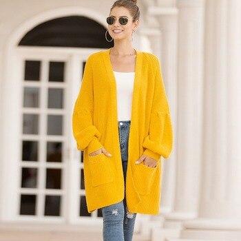 Autumn Winter Long Cardigan Women Long Sleeve Pocket Plus Size Loose Warm Sweater Coat Vintage Yellow Knitted Cardigans Femme long cardigan women sweater autumn winter bat sleeve knitted sweater plus size jacket loose ladies sweaters coat plus size