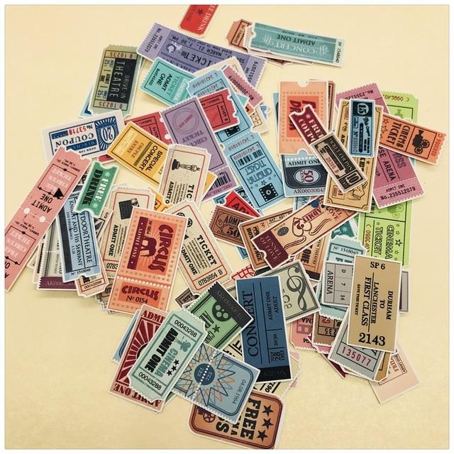 78Pcs/Lot Vintage Ticket Label Tags Sticker DIY Craft Scrapbooking Album Junk Journal Happy Planner Decorative Stickers