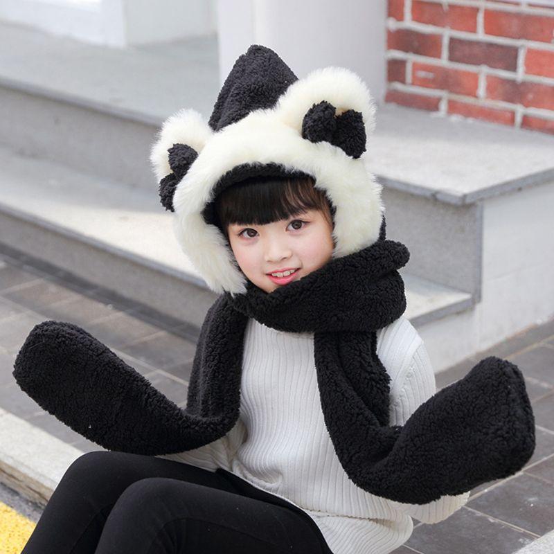 2020 Kids 3 In 1 Warm Plush Winter Hat Cute Bowknot Bear Ears Scarf Gloves Hoodie Cap