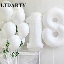 40 дюймов белый цифровой воздушный шар алюминиевая пленка латексный Гелиевый шар для малышей 1 год 18 лет подарок для взрослых декорация фона