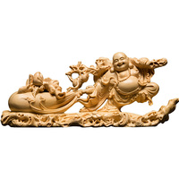 Wood Bag Laughing buddha statue buda sculpture Maitreya Buddha monk Wooden carving Home Decoration Statues for decoration