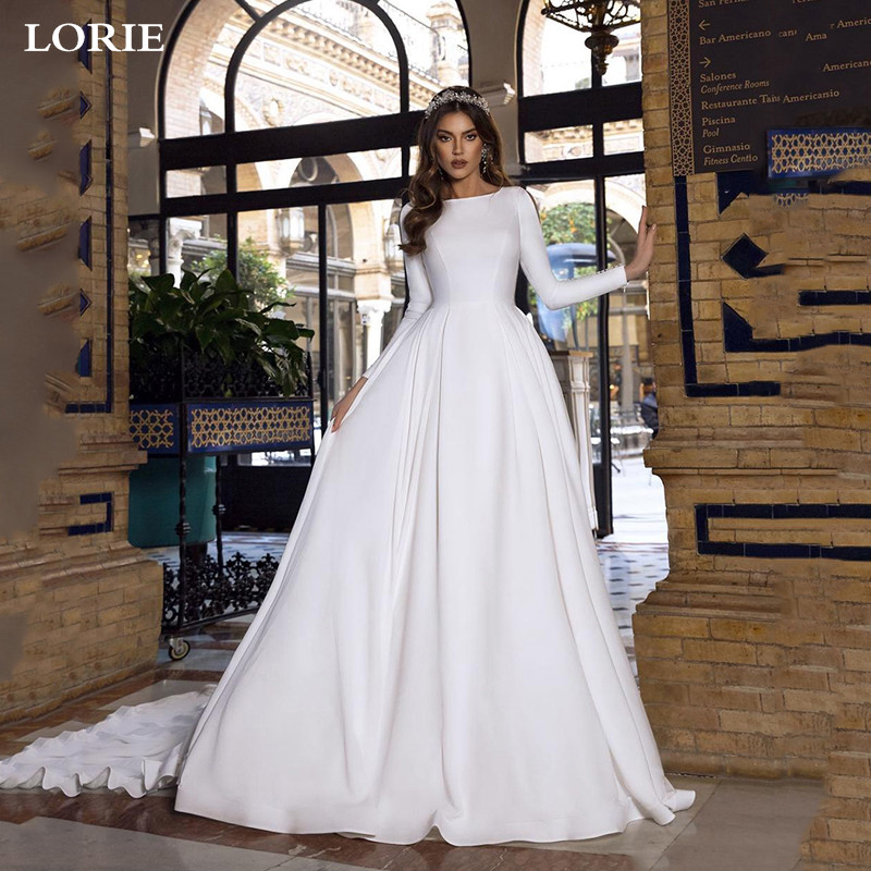 LORIE A Line Satin Wedding Dresses Lace Princess Bride Dresses Long Sleeve With Romantic Buttons Backless Vestido De Novia 2019