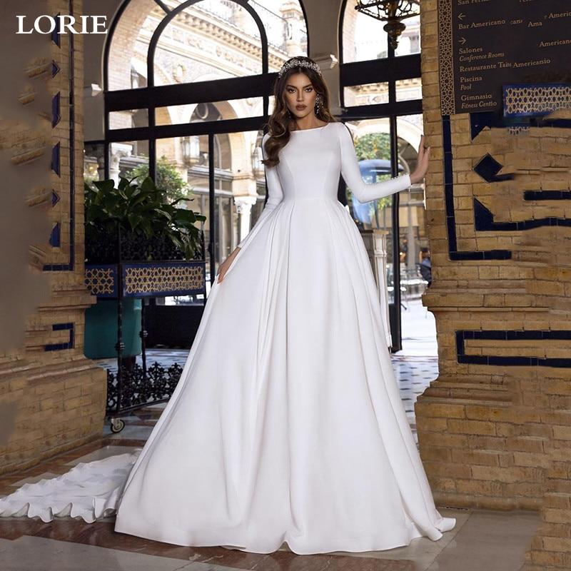 LORIE A Line Satin Wedding Dresses Lace Princess Bride Dresses Long Sleeve With Romantic Buttons Backless Vestido De Novia 2019