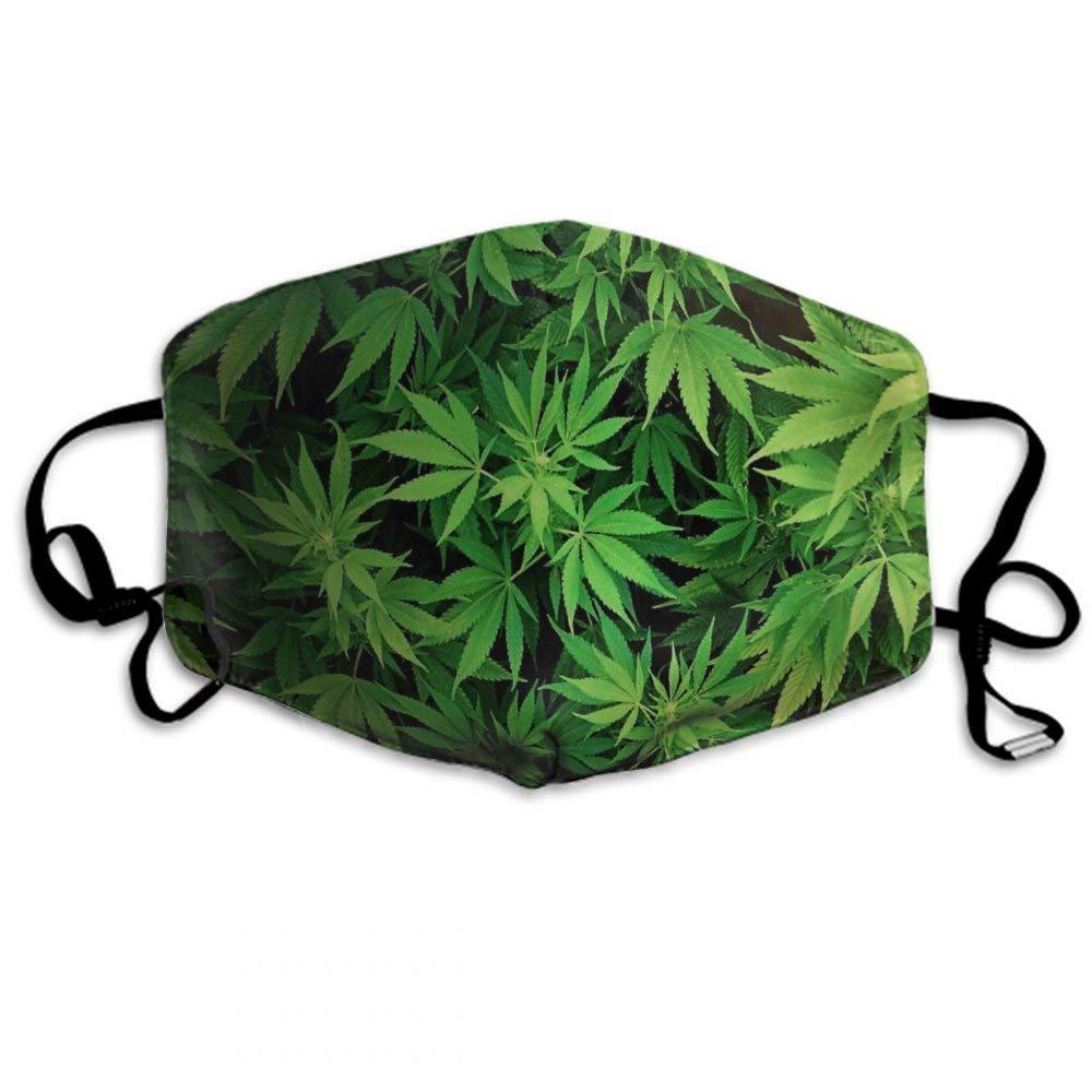 CIGOCI Anti-Dust Adjustable Elastic Strap Mouth Mask For Boys Girls Adults, Cannabis Leaf Green Weed Marijuana Warm Respirator
