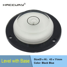 HACCURY-nivel de burbuja Mini spirit, nivel de burbuja, burbuja, nivel de burbuja con base y agujeros de montaje, 43x11mm