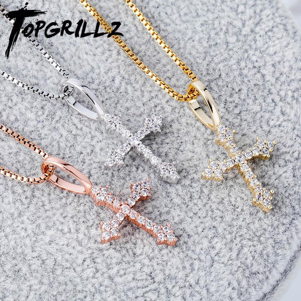 TOPGRILLZ 925 Sterling Silver Woman Pendant Iced Zircon Cross Pendant Fashion Hip Hop Jewelry