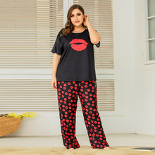 4XL XXXXL Plus Size Women Summer Nice Lips Printing Pajama Set