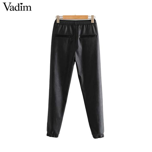 Vadim women chic PU leather pants solid elastic waist drawstring tie pockets female basic elegant trousers KB131 2