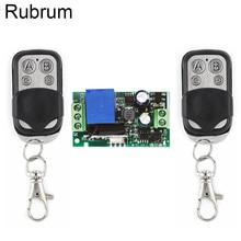 Rubrum 433MHz Universal Remote Control AC 220V 1CH RF Relay Receiver Module RF Switch 4 Button Remote Control Gate Garage Opener