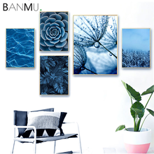 BANMU Nordic Poster Print Blue Dandelion Succulents Monstera Leaves Wall Art Canvas Painting Home Decor Pictures For Living Room