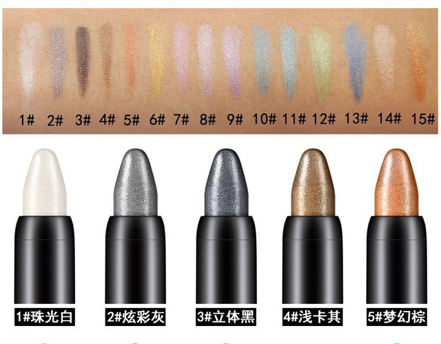 Professional Bling Colorful Eyeshadow Pen Shimmer Highlighter Eye Shadow Pencil Stick Makeup Waterproof Long Lasting Eye Lids 3