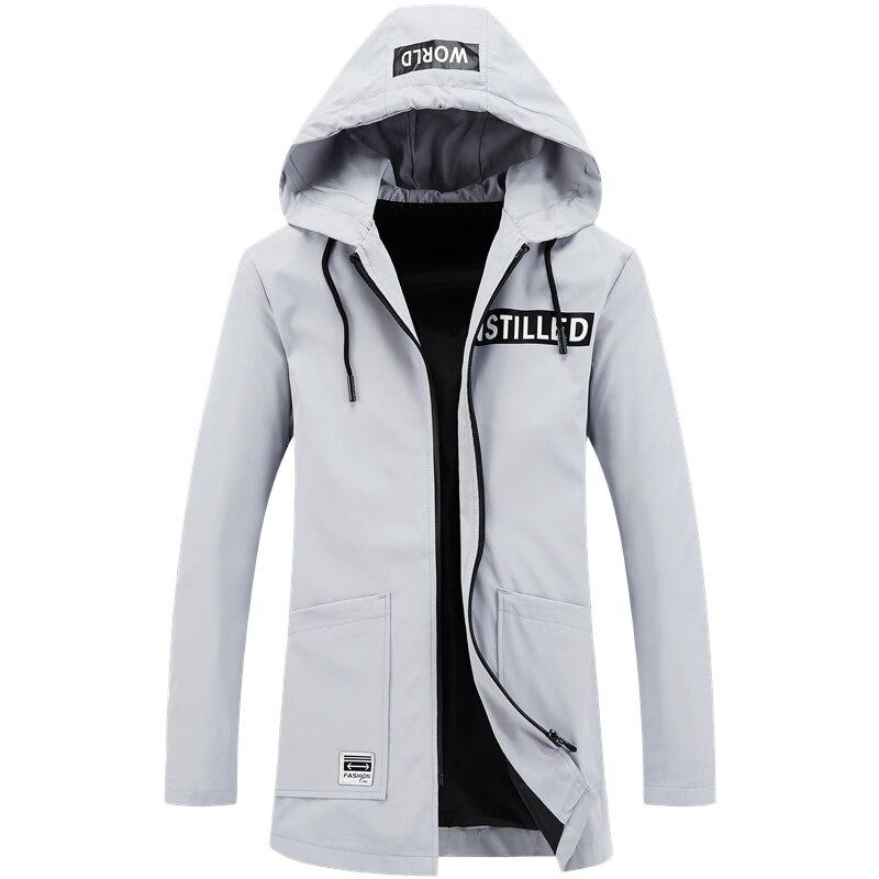 Windbreaker brand clothing mens casual hooded long jacket fashion solid color windbreaker pocket