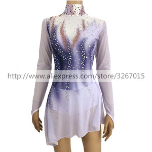 Image 5 - Figure Skating Dress Womens / Girls Ice Skating Dress Long sleeve Standing collar Gray black gradient color Backless