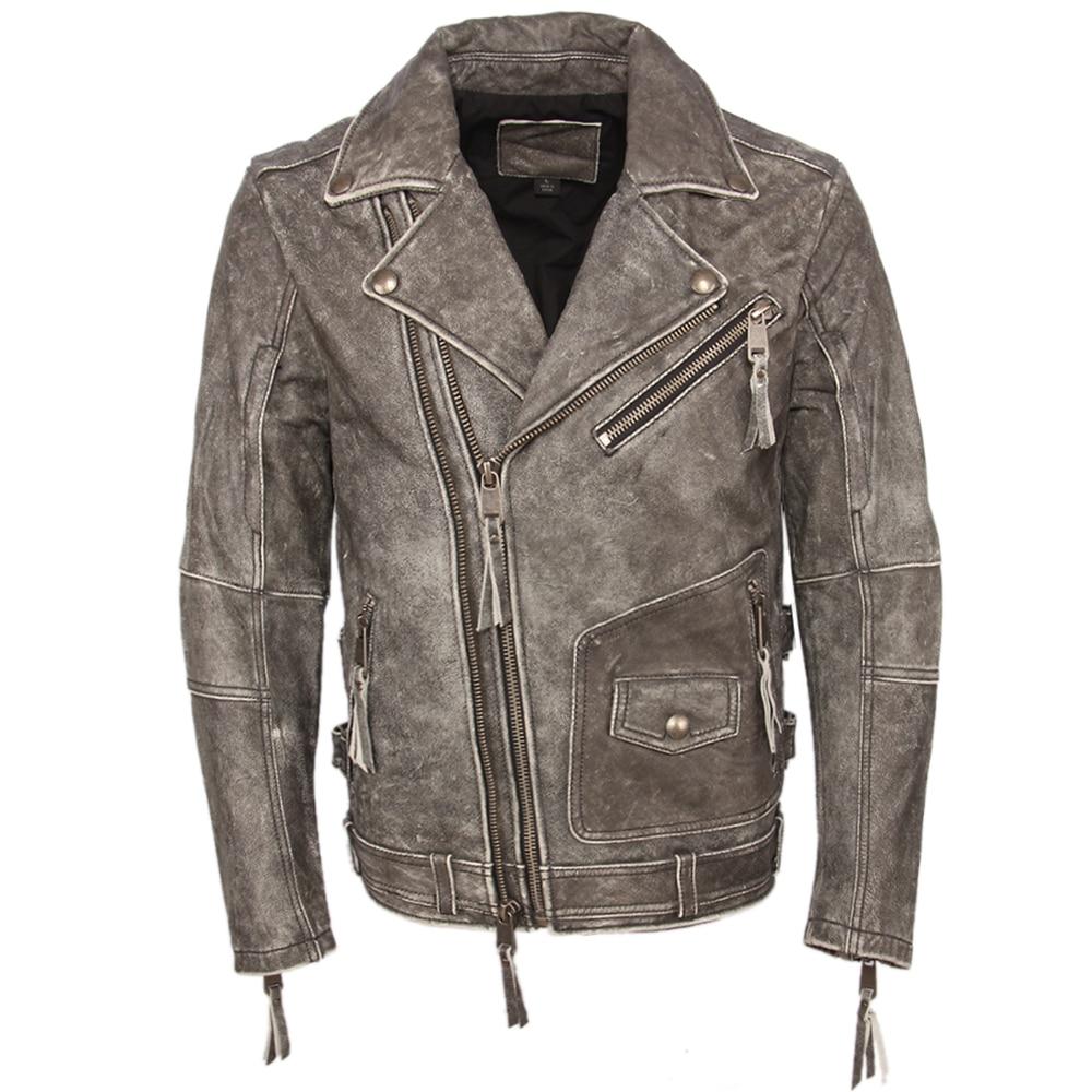 Hcf59a0ee937b49af887a8c022c194e6ag Vintage Motorcycle Jacket Slim Fit Thick Men Leather Jacket 100% Cowhide Moto Biker Jacket Man Leather Coat Winter Warm M455