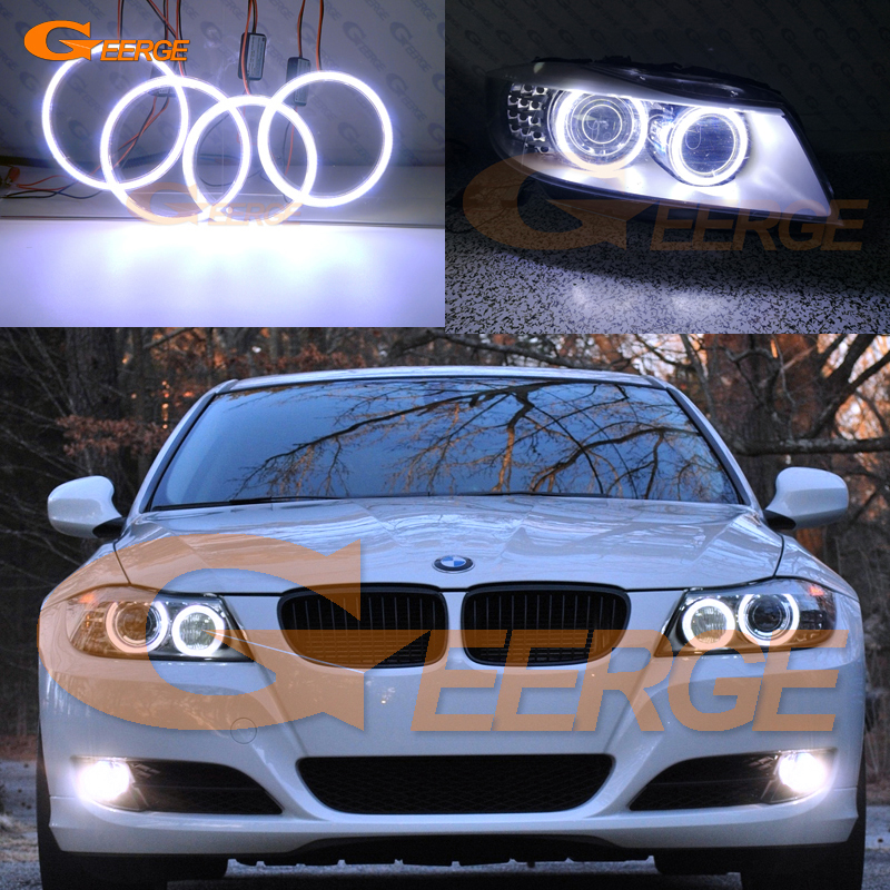 Excellent COB led angel eyes halo rings Ultra bright illumination For BMW 3 Series E91 E90 LCI 2009-2012 Xenon headlights image