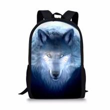 HaoYun Fashion Childrens School Backpack Cool Wolf Prints Pattern Kids Book Bags Fantasy Animal Painting Travel