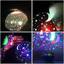 Lampka nocna z Usb baterii 1pc nowy dekoracyjny Led Starlight obracanie lampa projektora księżyc gwiazdka lekki projektor