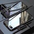 YonLinTan eu tampa do Caso Para apple iphone 5 5S Coque iphone 5 SE 5SE Metal Quadro magnético adsorção em vidro temperado casos de telefone