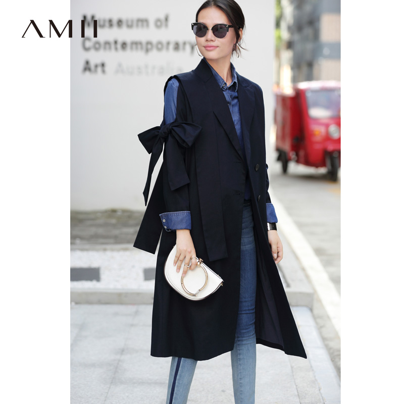 Amii Minimalist Suit Collar Trench Coat Autumn Women Double Breasted Lapel Solid Female Long Jackets 11870222