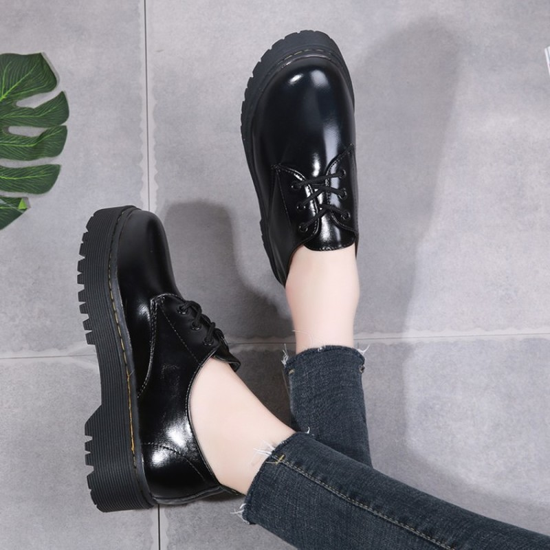 Classic Simple Small Leather Shoes Fashion Style Thick Bottom Lace-up Casual Shoes Trend Women's Shoes Zapatos De Mujer Z15-45