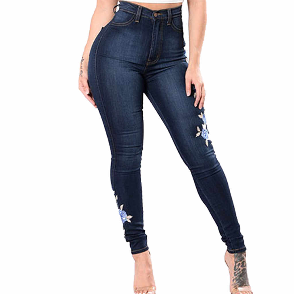 Women's Large Size Trousers New Sexy Embroidered Jeans High Elastic Tight Feet Straight Pants Casual Solid Autumn Pantalones#P