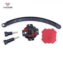 Per Gopro Eroe 7/6/5/4/3 +/3 Accessori Della Fotocamera 360D Rotazione Helmet Mount + braccio di prolunga + 3M Autoadesivo Adesivo Per Xiaomi Yi SJCAM