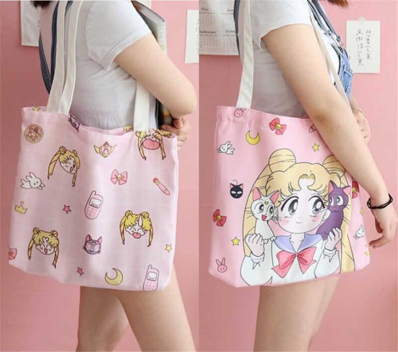 Merah Muda Kartun Sailor Moon Anime Tas Bahu Kanvas Tas Tangan untuk Gadis Makeup Tas Tas Laptop Alat Peraga Cosplay Hadiah Baru