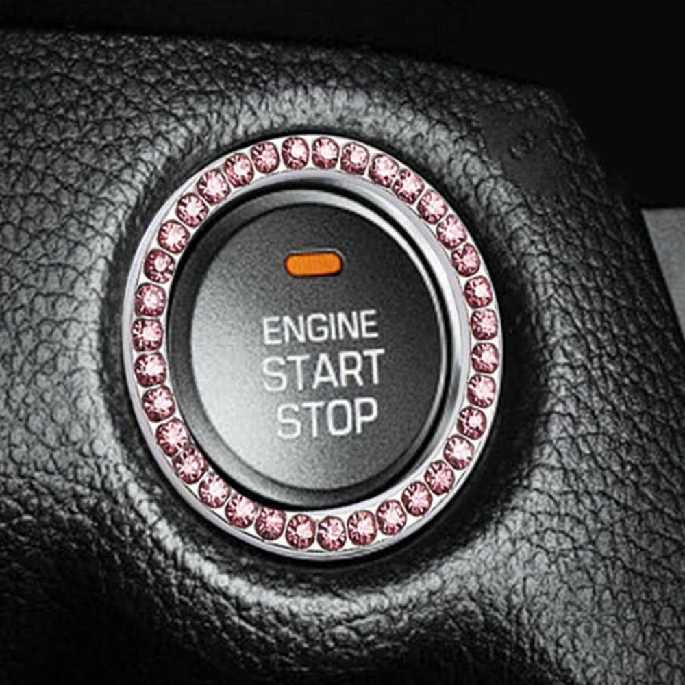 Indah Mobil Satu Tombol Tombol Start Imitasi Berlian Cincin