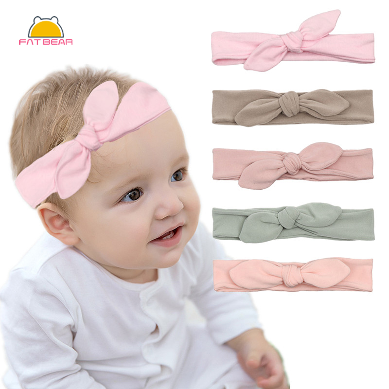 Rabbit Ears Solid Cotton Baby Headbands For Girls Elastic Handmade Adjustable Hair Band Baby Hairband Newborn Hair Accessories