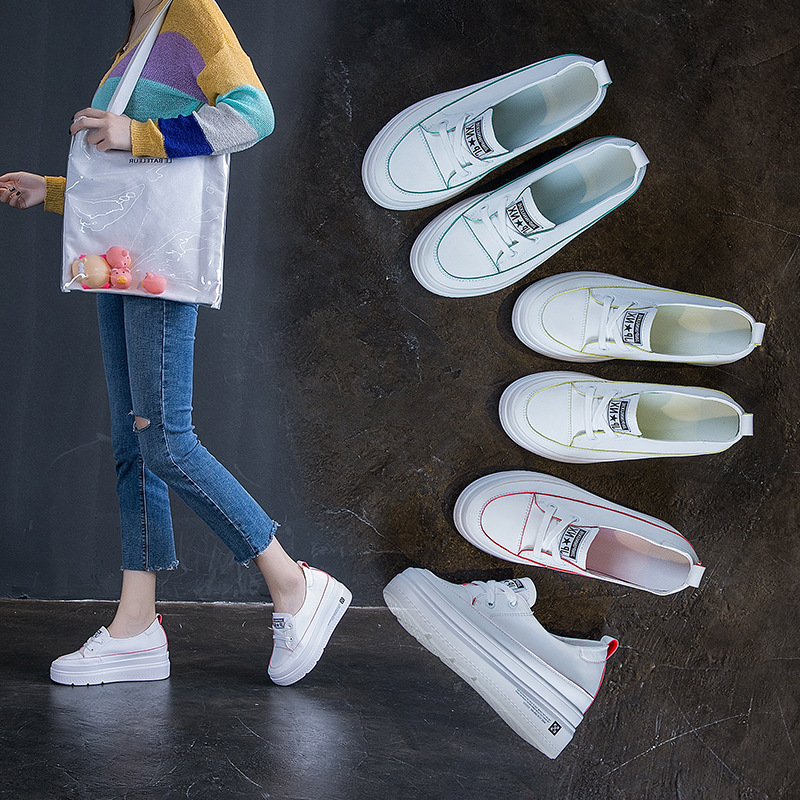 Single Shoes Female 2019 Small White Shoes Female Low Help Lazy Shoes Autumn Leisure Female Muffin With Inside Increase Women's