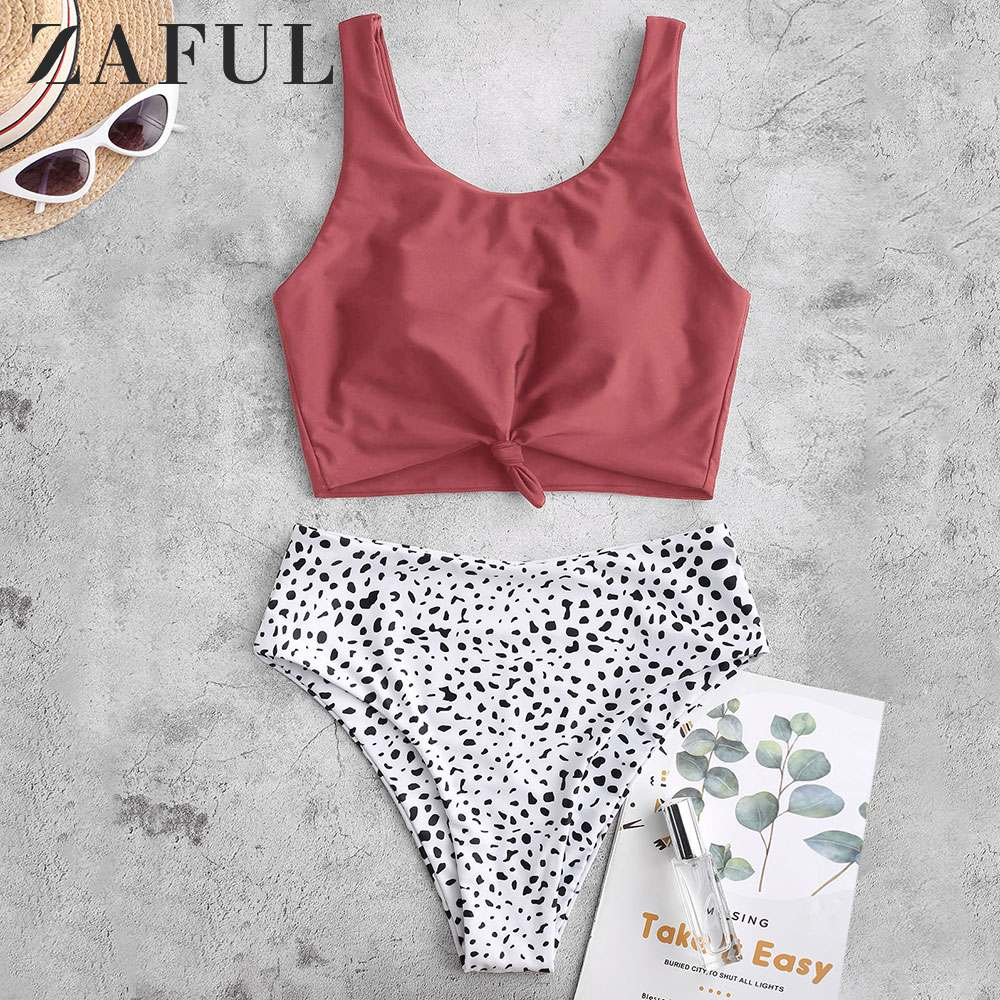 ZAFUL Cherry Red Women Knot Dalmatian Print High Waisted Tankini Swimsuit Removable Padded Scoop Neck Cute Tank Top Swimwear
