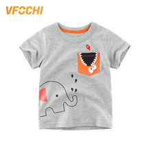 VFOCHI Boys T Shirt With Pocket Color Gray Cartoon Print Kids Tee Shirt 2-10Y Teenager Boy Tops Cute Boy Clothes Boy T Shirts цена и фото