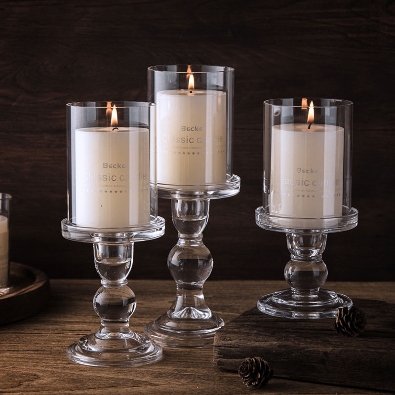 Nordic Glass Candle Holder with Cover for Tealight Candlestick Home Decoration Crystal Pillar Candle Stand Wedding Candelabra image