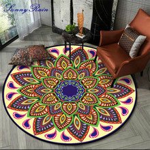 SunnyRain 1-piece Fleece Printed Mandala Round Area Rug for Bedroom Round Carpet for Living Room mandala water absorption coral fleece rug