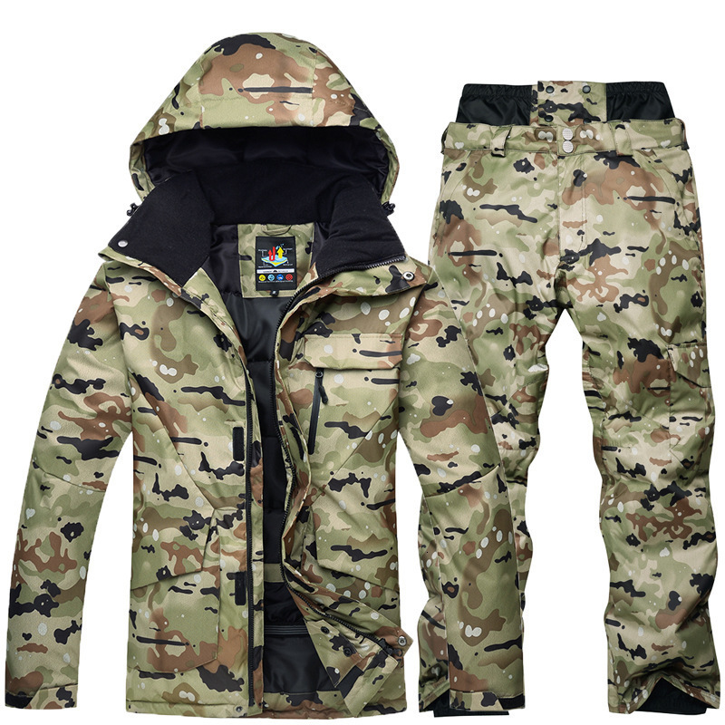Waterproof Thermal Ski Jackets + Snowboard Snow Pants Men Super Warm Winter Snowboard Camouflage Jacket Set Suit Pant Windproof