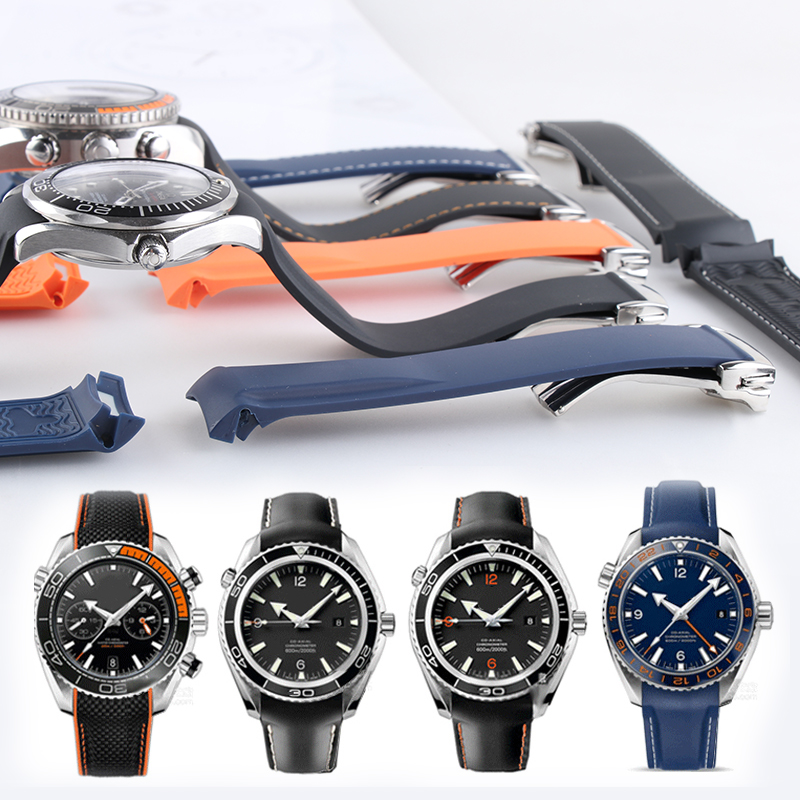 WatchBand 20mm 21mm 19mm 22mm Rubber Strap Sports Seamaster 300 Ocean 600 At150 For Seiko Citizen Man WristWatch Samsung Gear