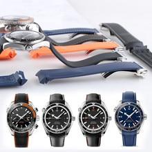 WatchBand 20mm 21mm 19mm 22mm gumowy pasek sportowy Seamaster 300 Ocean 600 At150 dla Seiko Citizen Man zegarek Samsung Gear