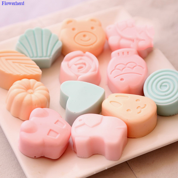 Food Grade Twelve Animals Handmade Soap Silicone Mold DIY Chocolate Cake Mold Soap Molds For Soap Making  Baby Soap Mold