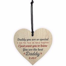 Best Daddy Ever Fathers Day Dad Gift Wood Heart Sign Crafts Thank You Gift From Daughter Son Christmas Home Tree Decorations(China)