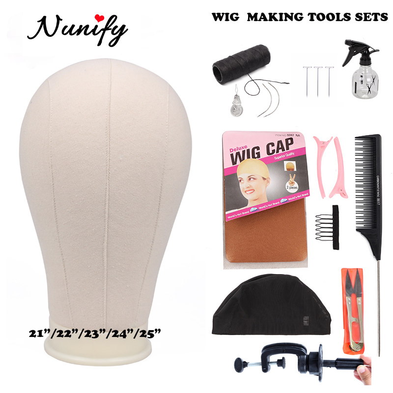 Wig Making Kit Wig Stand With Head Bald Manequin Head T Pins Wig Combs Hair Tools For Women Diy Wigs Making Material Hair Clips