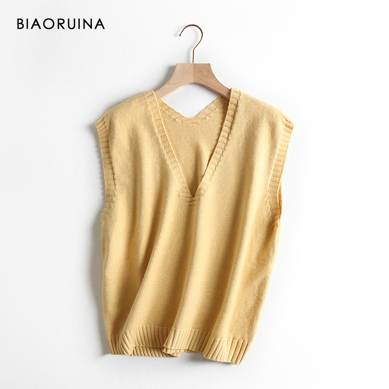 BIAORUINA 5 Color Women's Sleeveless Solid Casual Knit Vest Female All-match Basic V-neck Loose Sweater One Size New Arrival