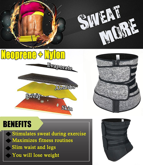 Women Hot Sweat Neoprene Waist Trainer Corset Trimmer Belt Body Shaper Slimming for Weight Loss Body Stomach Shaper Cincher 3