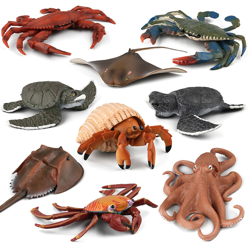 9 Kidns Soft Rubber Animal Cognitive Toys Simulation Sea Life Figure Collectible Toys Octopus/Turtle Animal Action Figures Kids