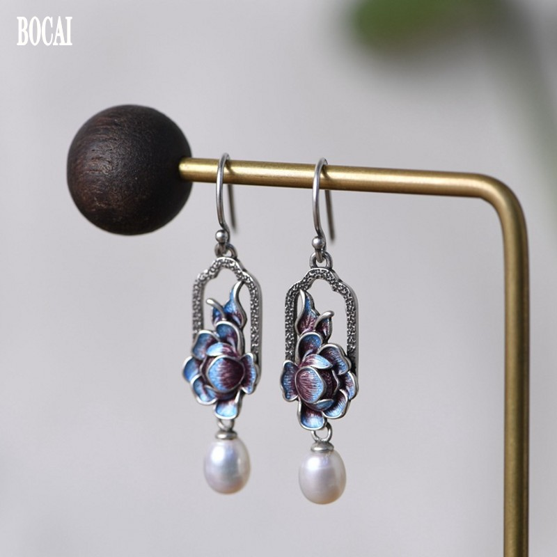 100% real S925 pure silver fashion jewelry blue earrings for women Thai...