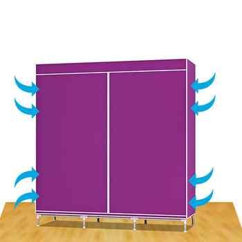 Practical Non-woven Fabric Wardrobe Foldable Closet Dustproof Storage Organizer for School Students Dormitory